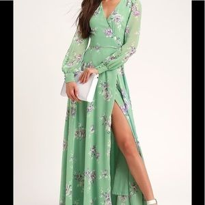 Lulus My Whole Heart Sage Green Floral Print Dress